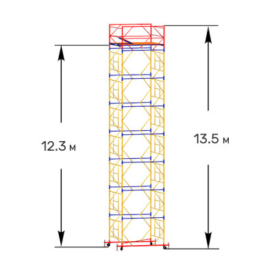 Вышка-тура строительная ПРОФИ ВСП-250 1,6х2,0 м - 13,5 м