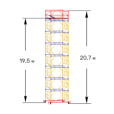 Вышка-тура строительная ПРОФИ ВСП-250 1,6х2,0 м - 20,7 м