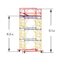 Вышка тура строительная ПРОФИ ВСП-250 1,6х1,6 м - 5,1 м